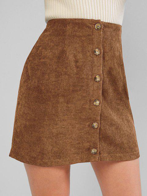 ladies ZAFUL Corduroy Button Fly High Rise Skirt - CHESTNUT S Mobile