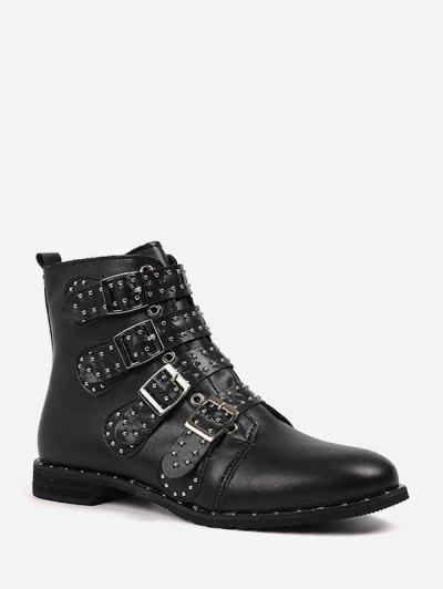 Rivet Buckle Studded Motorcycle Boots - Black Eu 42