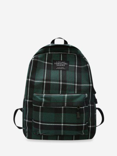 Grid Pocket Design Student Chic Backpack - Dark Green