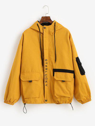 Hooded Letter Drop Shoulder Pockets Jacket - Yellow M