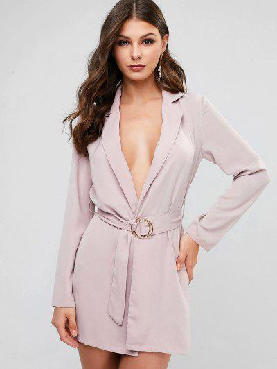 Round Buckle Belted Open Front Longline Blazer - Rosy Brown L
