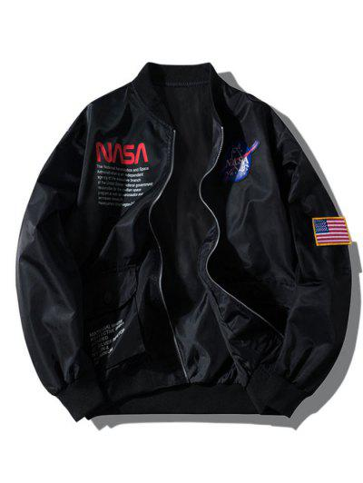 ZAFUL Letter Graphic Embroidery American Flag Applique Pocket Jacket - Black M