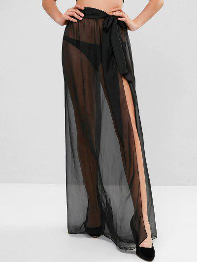 Sheer Tie Maxi Wrap Skirt - Black