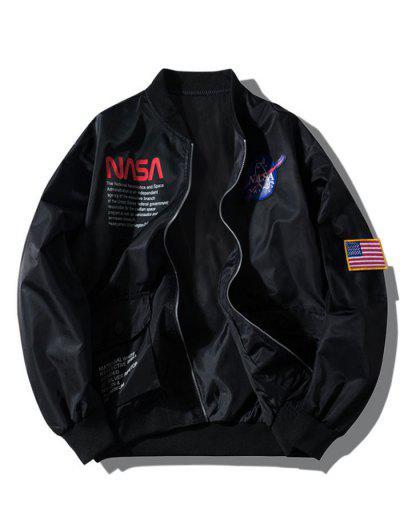 ZAFUL Buchstabe Grafik-Stickerei-Amerikanische Flagge Applikationen Tasche Jacke - Schwarz L