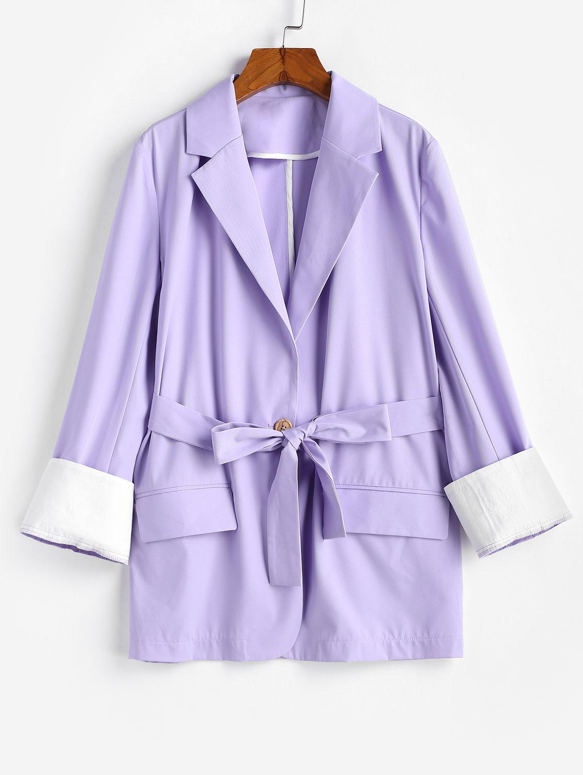 ZAFUL Belted Flap Pocket Cuffed Blazer