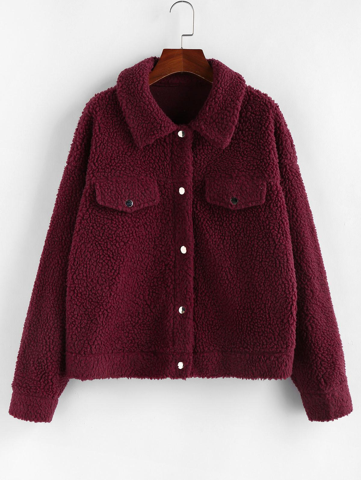 ZAFUL Drop Shoulder Button Up Teddy Coat