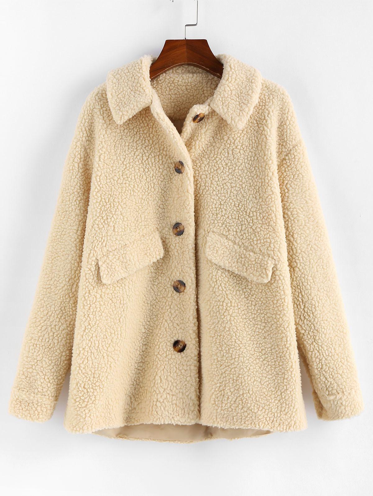 ZAFUL Drop Shoulder Longline Teddy Coat