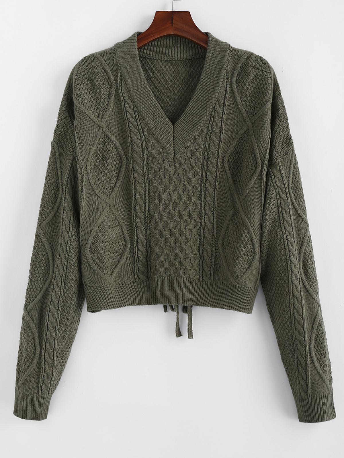 ZAFUL V Neck Drop Shoulder Tie Back Sweater
