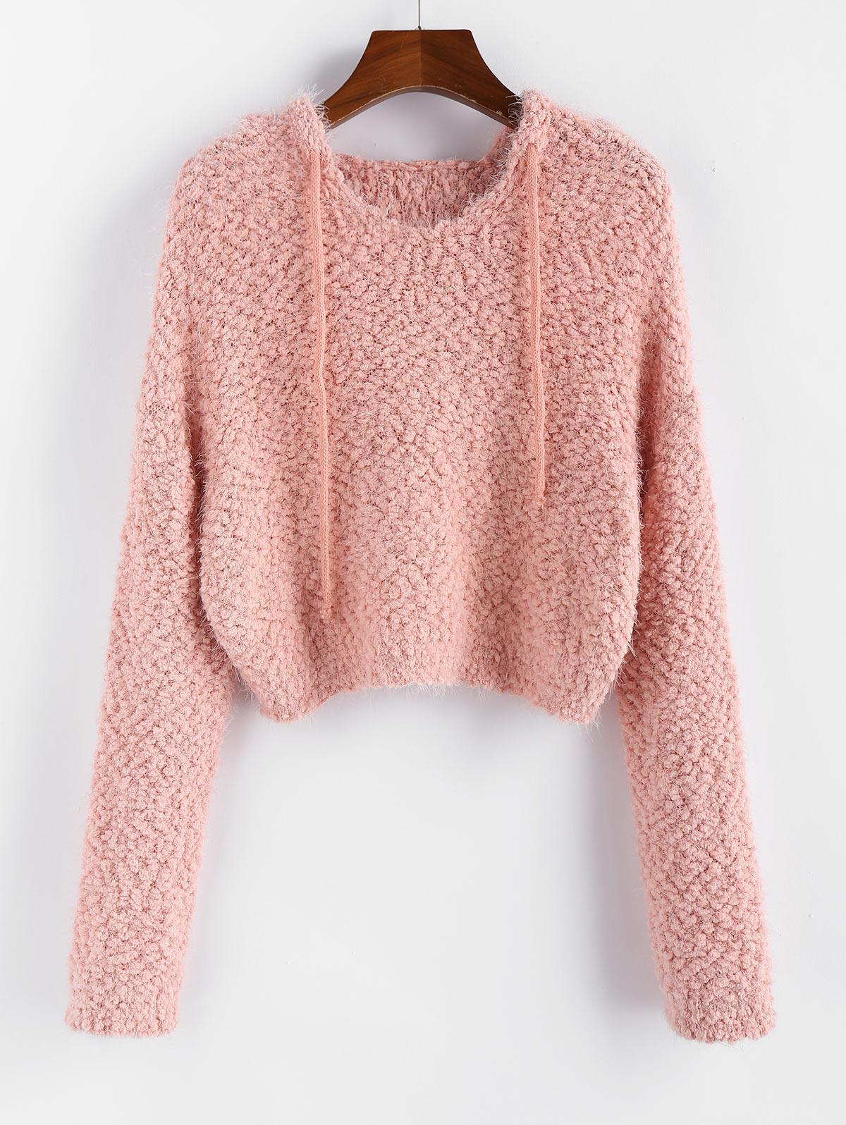 ZAFUL Popcorn Knit Hooded Fuzzy Sweater