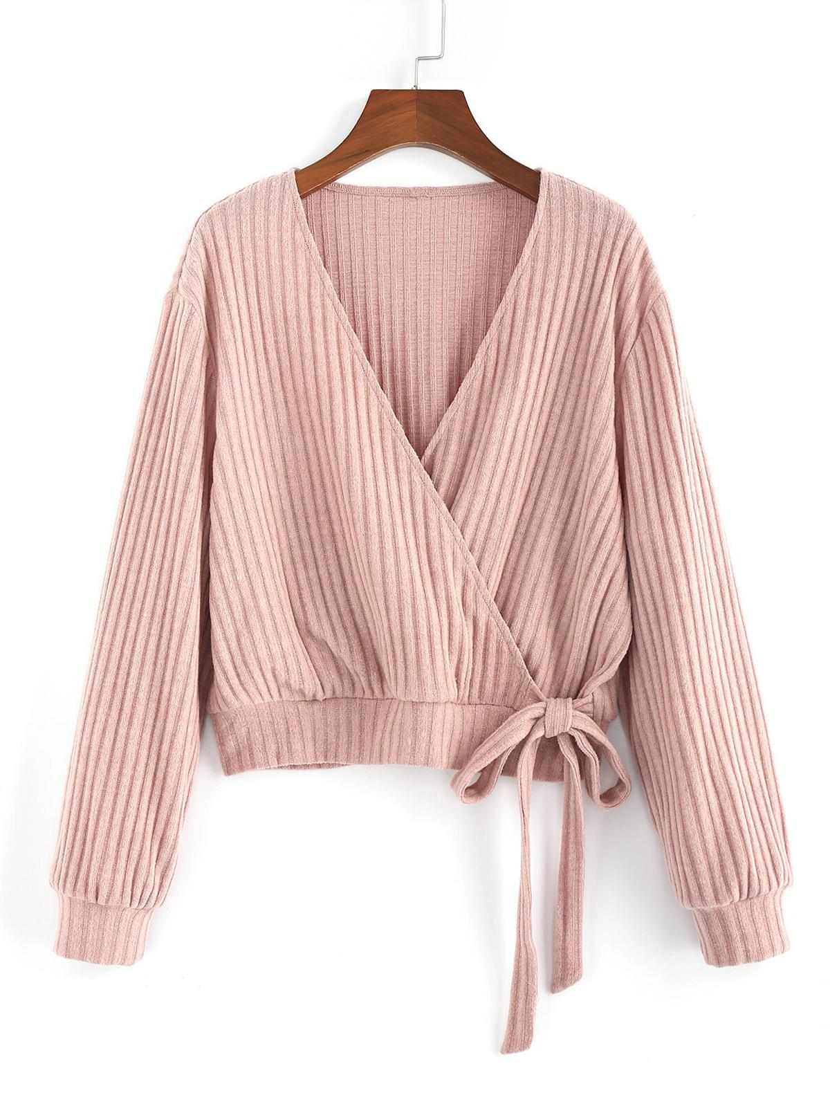 ZAFUL Plunge Neck Knotted Ribbed Surplice Knitwear