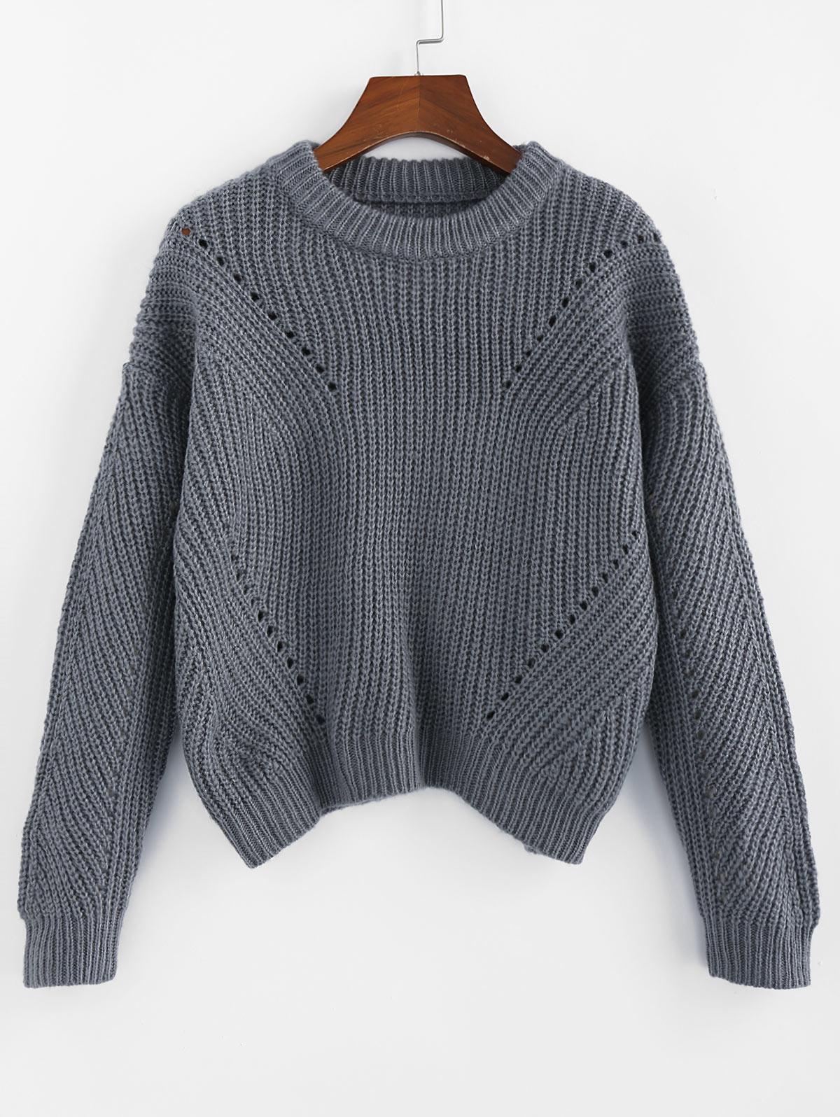 ZAFUL Pointelle Crew Neck Drop Shoulder Sweater