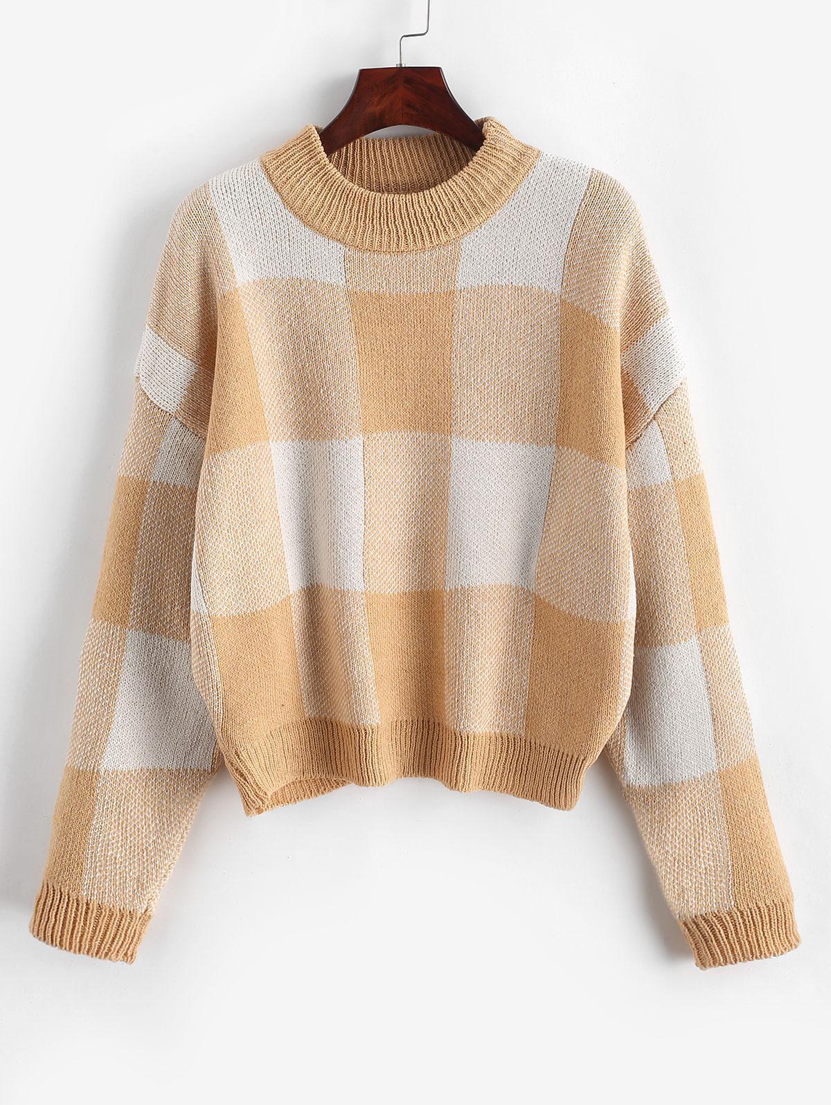 Pullover Intarsia Knit Graphic Crew Neck Sweater