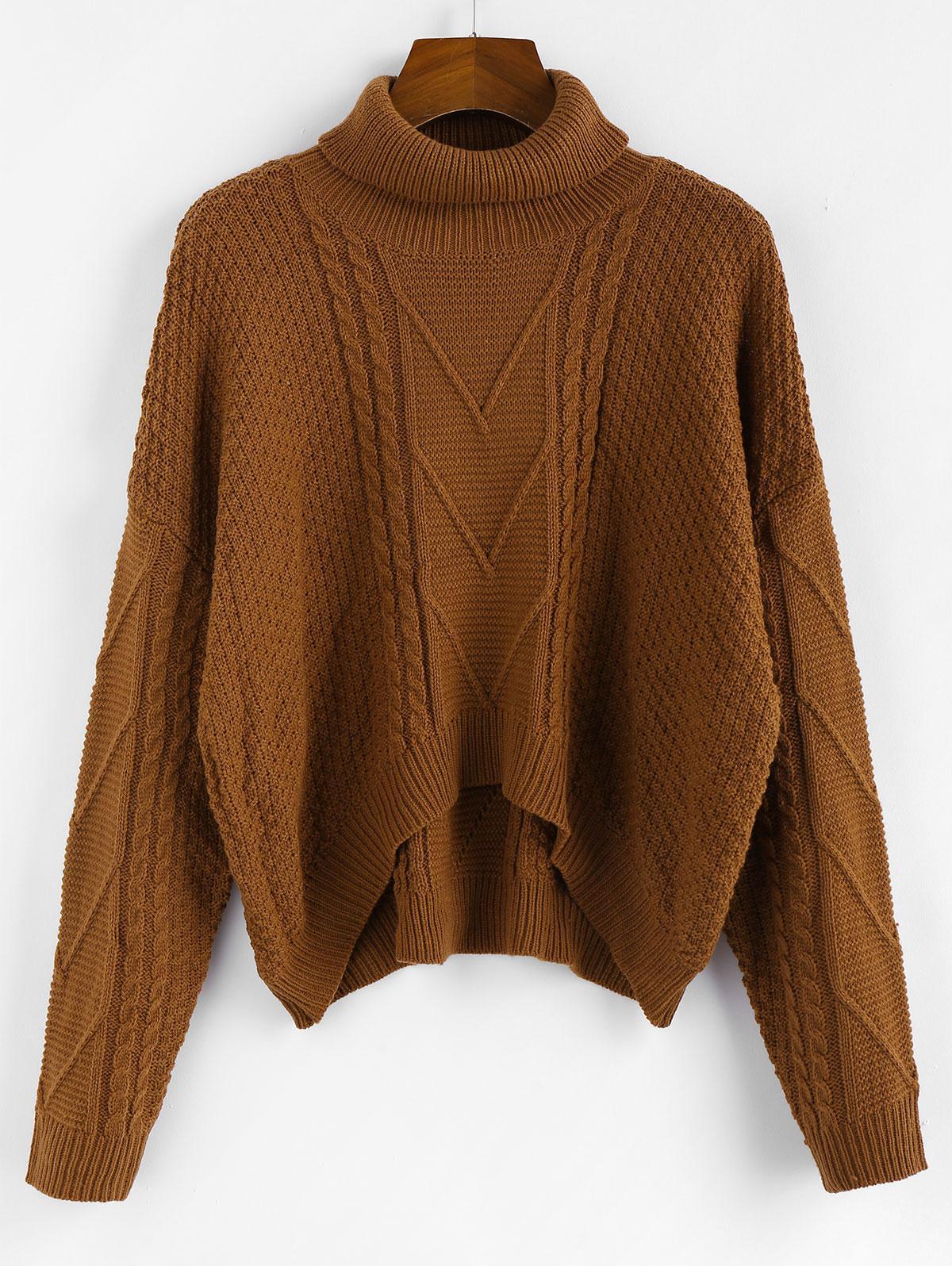 ZAFUL Drop Shoulder High Low Turtleneck Sweater фото