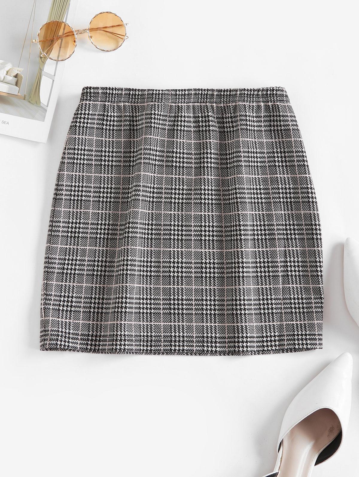 ZAFUL Houndstooth Plaid Mini Skirt