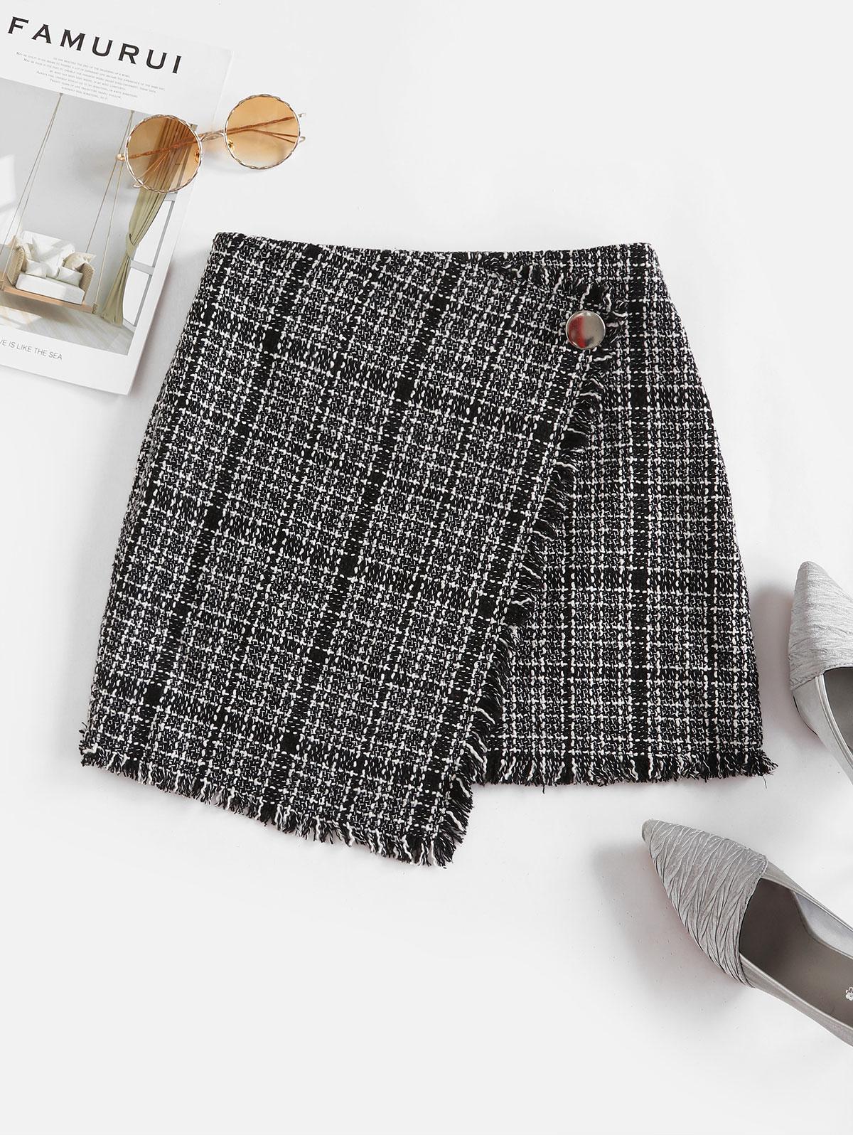 ZAFUL Tweed Faux Wrap Skirt, Black