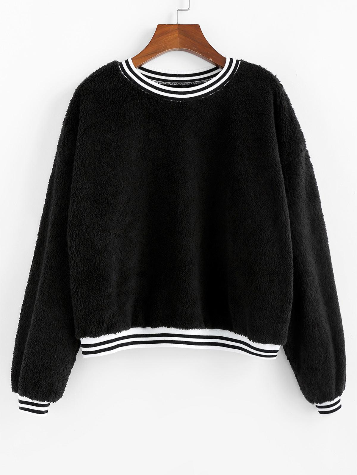 ZAFUL Striped Hem Drop Shoulder Teddy Sweatshirt фото