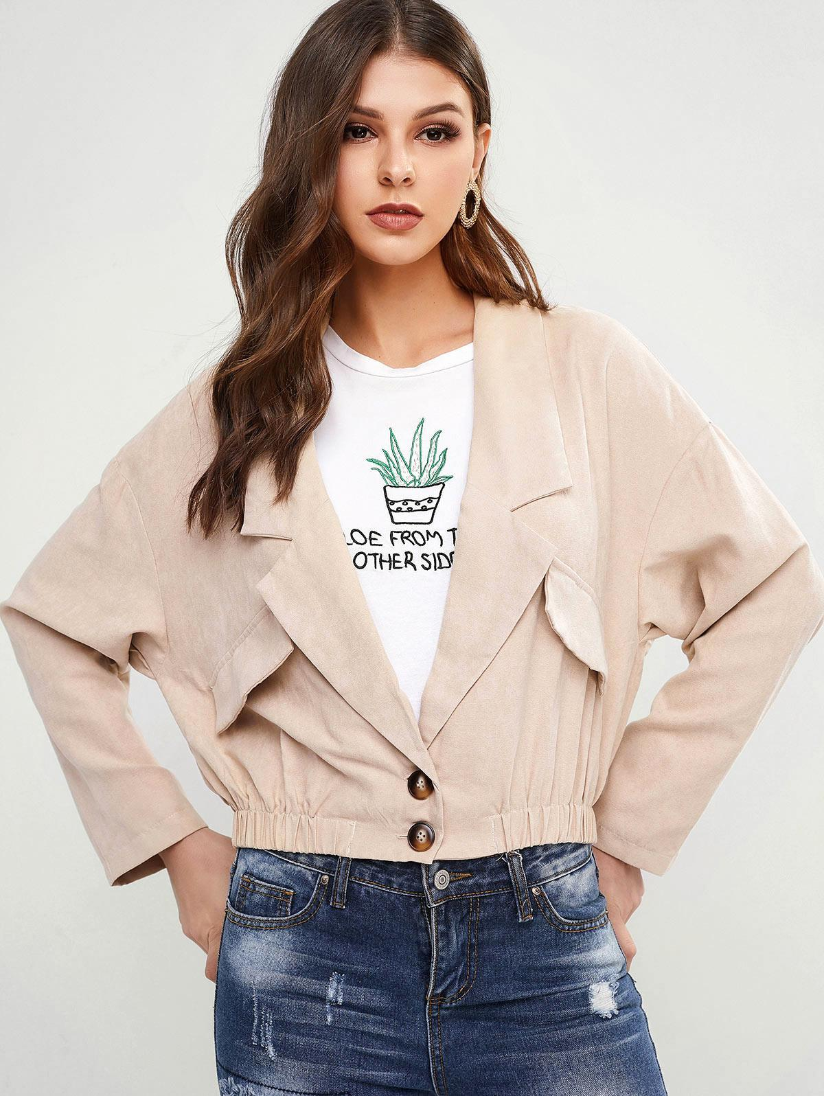 Drop Shoulder Faux Pockets Blouson Jacket