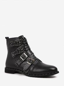 Rivet Buckle Motorcycle Boots