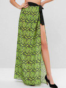 ثعبان طباعة الشيفون التفاف تنورة - أخضر مصفر