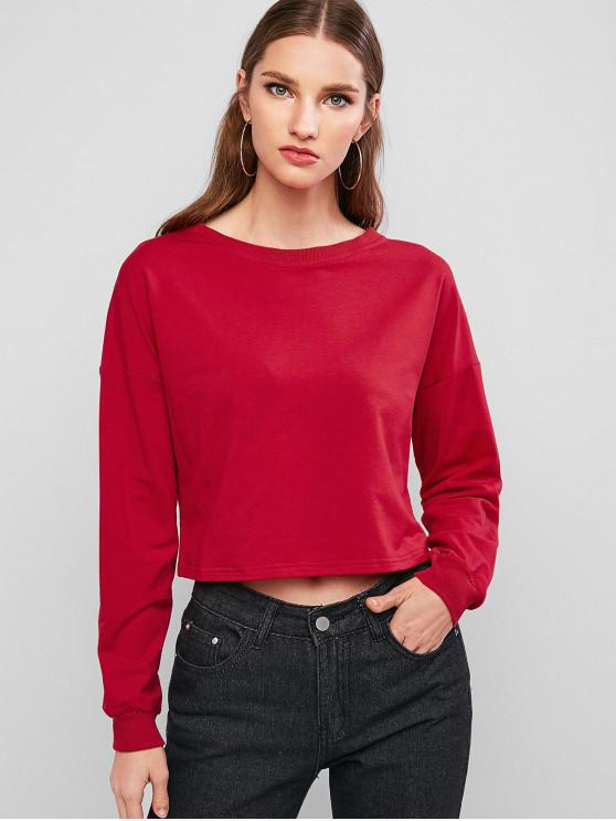 outfit ZAFUL Crew Neck Solid Crop Sweatshirt - RED S