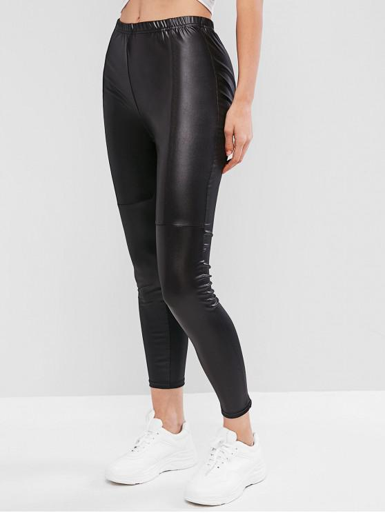 fashion High Waisted Faux Leather Plain Leggings - BLACK M