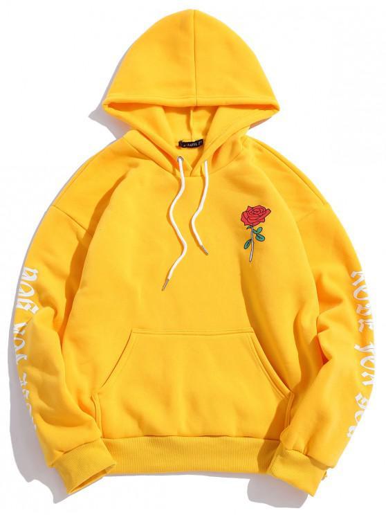 women's Rose Letter Fleece Kangaroo Pocket Pullover Hoodie - YELLOW XL