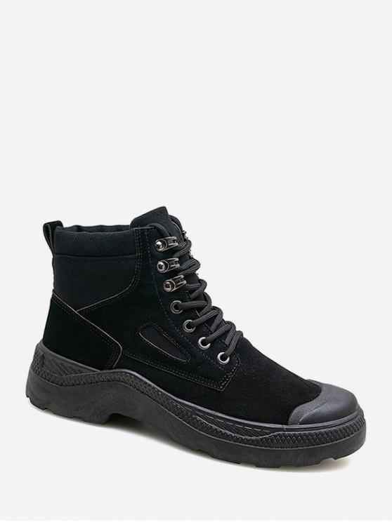 shop Retro Lace Up Solid PU Ankle Boots - BLACK EU 39