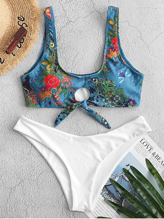 affordable ZAFUL Knot Retro Floral Bikini Swimsuit - PEACOCK BLUE L
