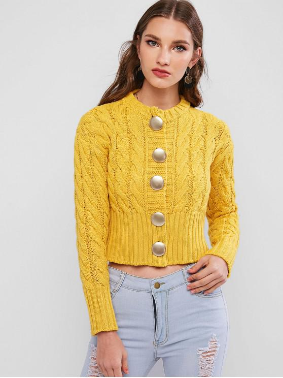 best Buttoned Cable Knit Chunky Cardigan - CORN YELLOW ONE SIZE