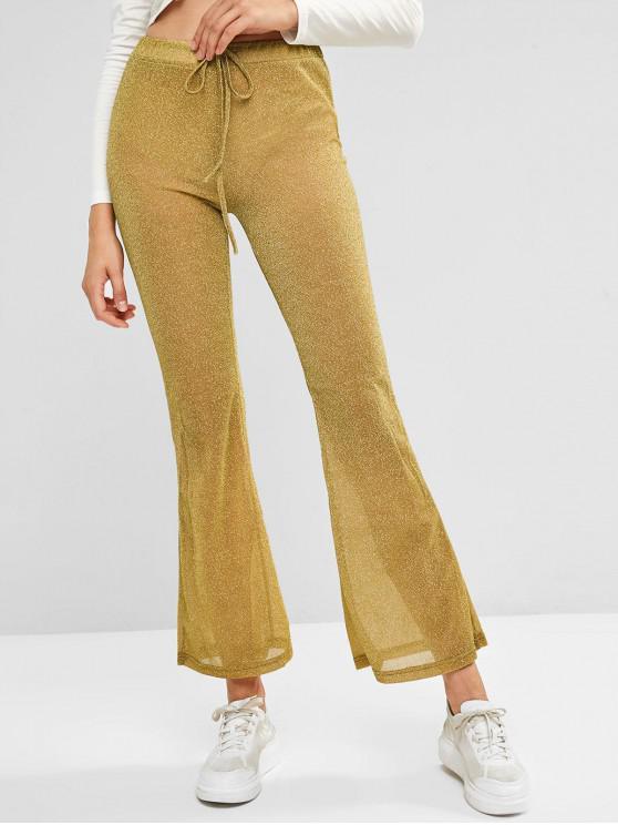 trendy Metallic Thread Glitter See Thru Drawstring Flare Pants - CHAMPAGNE GOLD L