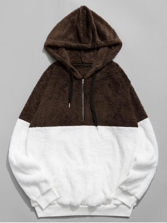 buy Colorblocking Spliced Half Zipper Faux Fur Hoodie - COFFEE S