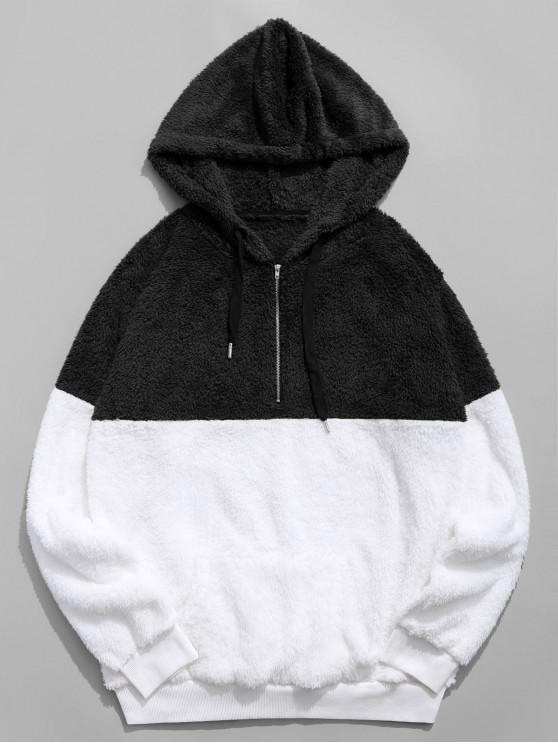 fashion Colorblocking Spliced Half Zipper Faux Fur Hoodie - BLACK S