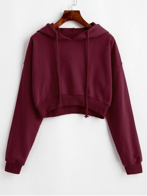 hot Drawstring Drop Shoulder Cropped Hoodie - RED WINE M