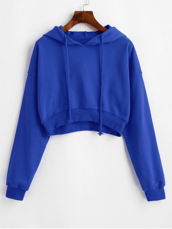 fashion Drawstring Drop Shoulder Cropped Hoodie - BLUE XL