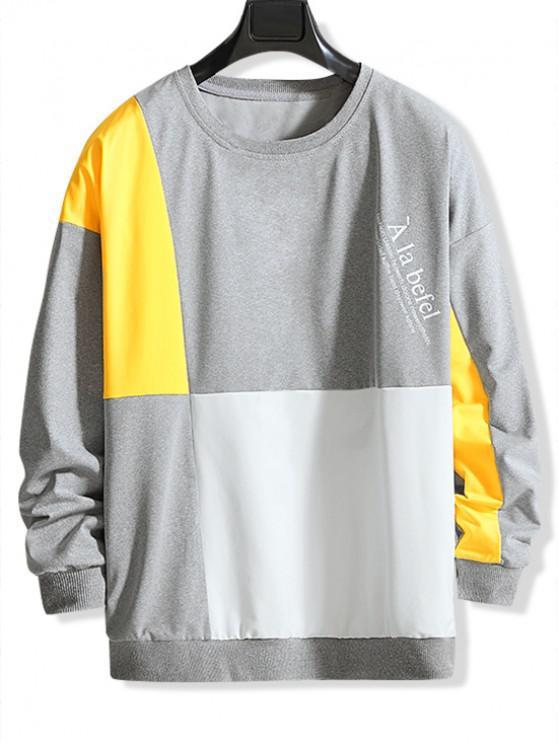レタープリントカラーブロッキングスプライスドロップショルダースウェットシャツ - グレイクラウド 3XL