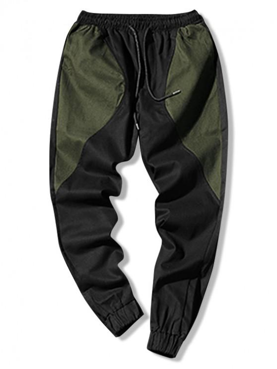 womens Color Blocking Spliced Drawstring Casual Jogger Pants - ARMY GREEN L