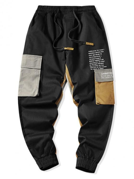 fashion Colorblock Spliced Letter Flap Pocket Cargo Jogger Pants - BLACK M
