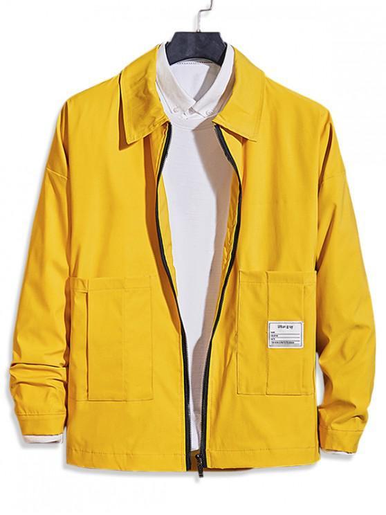 unique Pocket Decoration Zip Up Casual Jacket - YELLOW XS