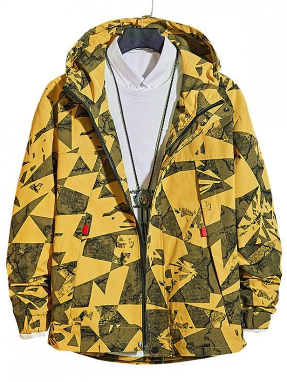 women Casual Geometric Print Zip Up Jacket - YELLOW S