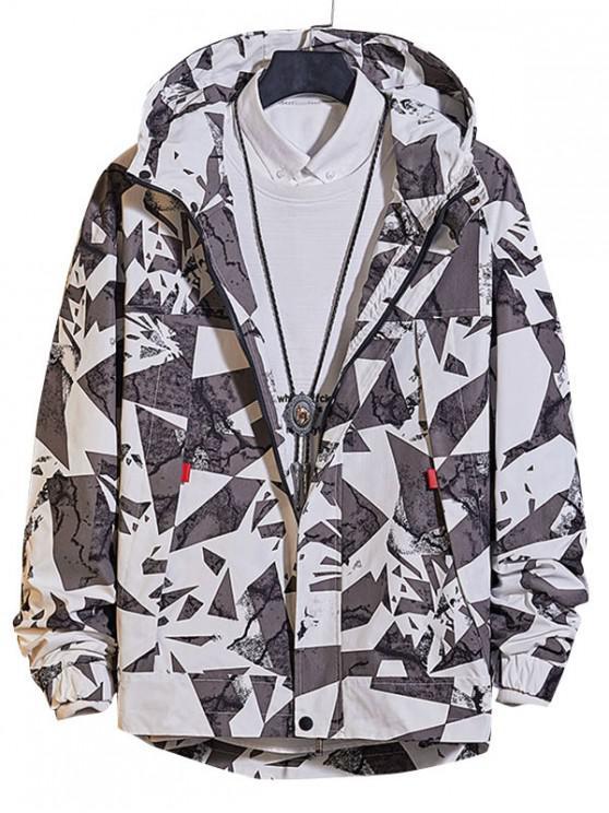 chic Casual Geometric Print Zip Up Jacket - WHITE L