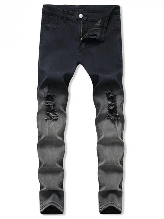 Ombre Fly Zip Destruído Jeans - Multi 2XL