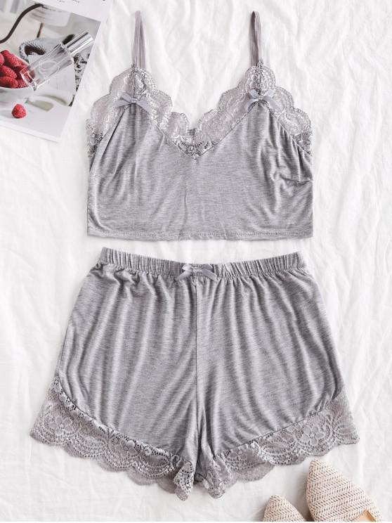 ladies Lace Insert Bowknot Scalloped Pajama Set - GRAY L