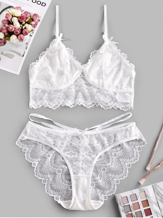 shop Lace Scalloped Bowknot Bralette Lingerie Set - WHITE 2XL