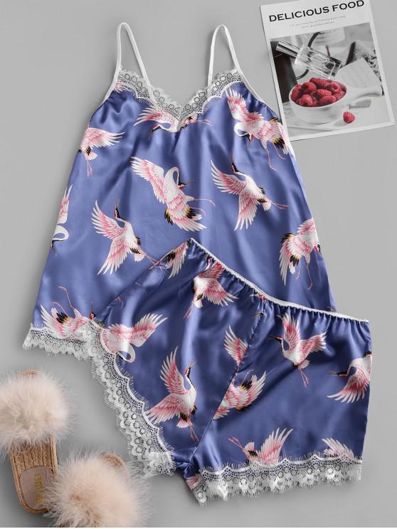 Grupo Conjunto de pijama de raso grúa de la impresión del cordón - Azul 2XL