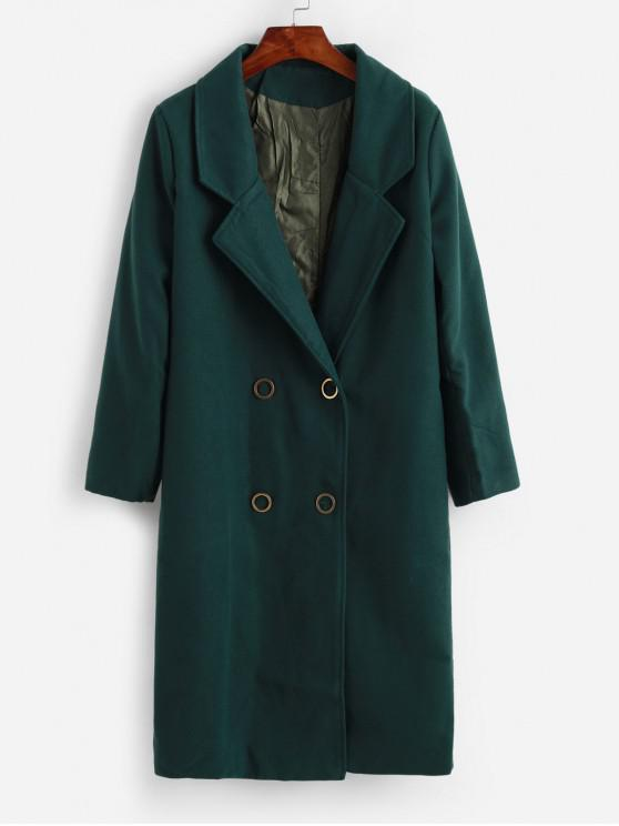 outfits Seam Pockets Double Breasted Wool Blend Coat - SEA GREEN M