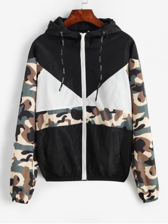 sale Hooded Camouflage Zip Up Pocket Jacket - BLACK L