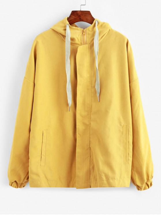 outfits Hooded Zip Front Cartoon Just Be Happy Jacket - YELLOW S