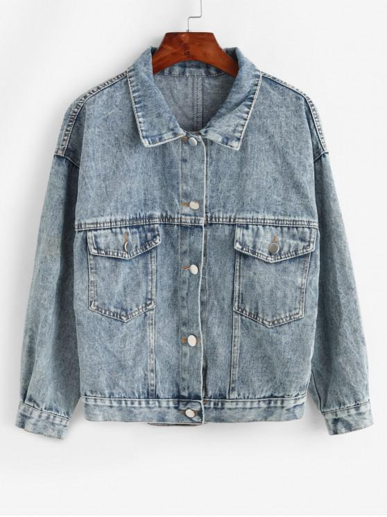 latest Drop Shoulder Button Front Flap Pockets Denim Jacket - BLUE M