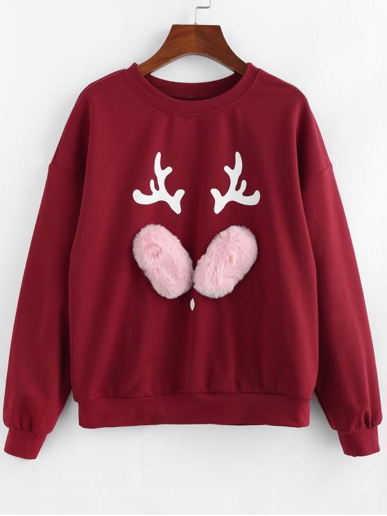 ZAFUL Navidad Elk gota hombro sudadera pulóver - Vino Tinto L