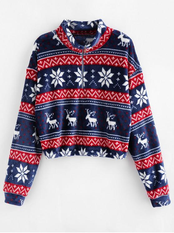 women's ZAFUL Christmas Elk Snowflake Half Zip Sweatshirt - LAPIS BLUE L